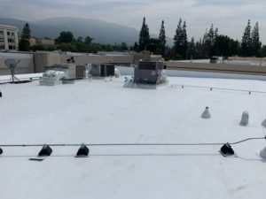 Picture of a flat roof in Monrovia with TPO covering from 2020