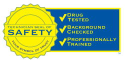 Technician Seal of Safety: Your Symbol of Trust. Our roofers are drug tested, background checked, and professionally trained.